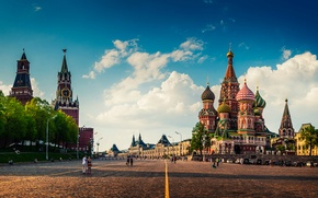 Picture Red square, Red Square, The sky, Cathedral, Area, Moscow, The Kremlin, Chimes, People, St. Basil's ...