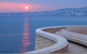Wallpaper sea, sunset, the city, France, promenade, France, Cote d'azur, French Riviera, The French Riviera, Cote ...
