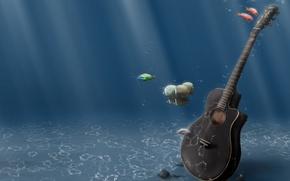 Wallpaper guitar, water, fish