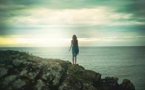 Picture sea, girl, landscape, stones, rocks, dress