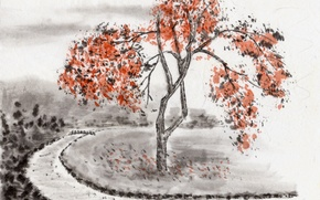 Picture field, bridge, river, tree, branch, Japan, Painting, Bank