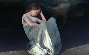Picture sand, girl, rock, shadow, dress, art, sleeping, girl, sitting, tenek