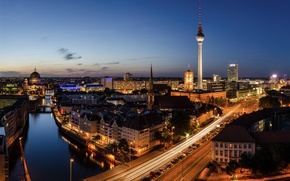 Picture night, bridge, city, the city, lights, lights, road, Germany, road, bridge, street, night, street, germany, ...