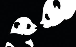 Wallpaper black and white, child, Panda, mom