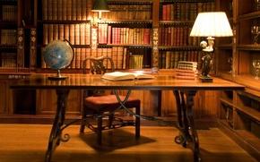 Wallpaper SHELVES, GLASSES, LIBRARY, ROOM, CHAIR, GLOBE, BOOKS, OLD, TABLE, LAMP