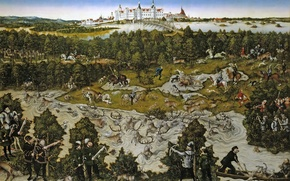 Picture Hunt in Honour of Ferdinand I. near the Castle of Torgau, picture, Lucas Cranach The ...