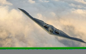 Picture strategic, Northrop, unobtrusive, bomber, flight, B-2 Spirit, the sky, clouds