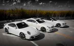 Picture Porsche 911, BMW 6 Series Cabrio, Mercedes-Benz CLS