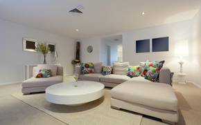 Picture Design, Chair, Sofa, Table, The ceiling, Pillow, Interior, Living room