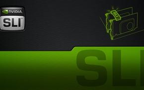 Picture green, nvidia, logo, black, sli