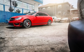 Picture red, Mercedes, red, Mercedes, AMG, C63, frontside, 507 Edition