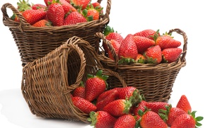 Picture baskets, strawberries, strawberry, fresh berries, fresh berries, baskets