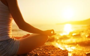 Picture beach, Girl, meditation