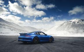 Picture 911, Porsche, Blue, Mountain, GTS, Supercar, Rear