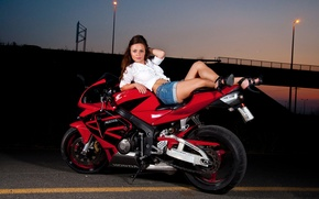 Picture road, red, Girl, the evening, shoes, brown hair, legs, Honda motorcycle