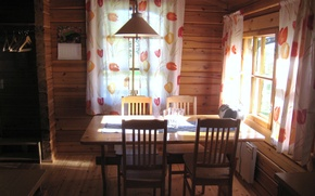 Picture room, interior, table, chairs, country home