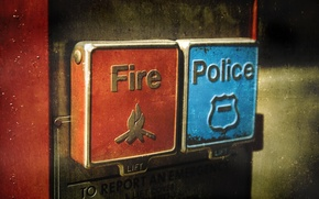 Wallpaper fire, police, button