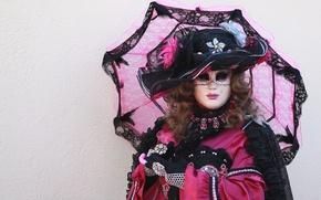 Picture umbrella, mask, costume, Venice, carnival, curls