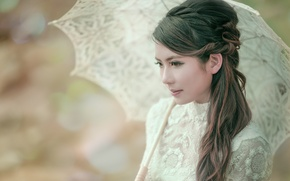 Picture umbrella, hairstyle, Asian