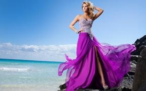 Picture sea, girl, shore, model, blonde