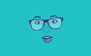 Wallpaper face, surprise, minimalism, glasses