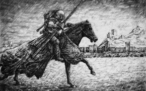 Picture horse, figure, graphics, warrior, rider, spear, fortress, the middle ages, Knight, Sudak, tournament, Parsadanov