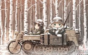 Picture girl, gun, USA, forest, green eyes, long hair, weapon, hat, brown eyes, war, blush, anime, …