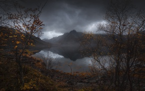 Wallpaper autumn, rocks, the sky, water, lake, nature, mountains, grey clouds, river