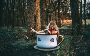 Wallpaper forest, girl, Cup, book, Rosie Hardy