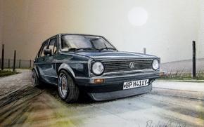 Picture figure, Volkswagen, painting, GTI, Golf II