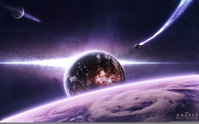Picture ship, planet, flight, the sky