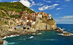 Picture sea, the sky, the city, rock, home, Bay, Italy, Manarola, Cinque Terre