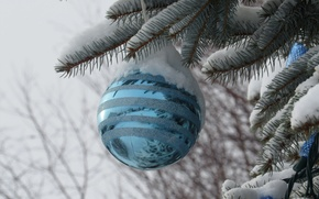 Picture snow, toy, tree, new year, ball, Christmas, decoration