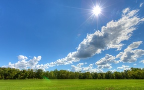 Wallpaper the sky, meadow, trees, the sun, Sunny day, clouds