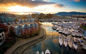Wallpaper yachts, Morning, pier