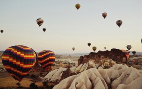 Picture summer, the sky, color, flight, mountains, balloon, rocks