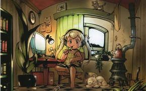 Picture computer, cats, table, room, watch, books, lamp, plants, window, girl, stove, wardrobe, white hair, art …