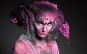 Wallpaper portrait, fantasy, makeup, Pink Smoke, fashion