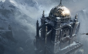 Picture snow, mountains, eagle, fortress, assassin's creed, revelations, Masyaf