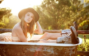 Picture light, model, hat, boots, actress, bath, Erin Wasson, Erin Wasson