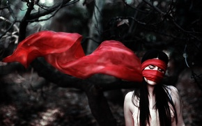 Picture forest, girl, trees, red, scarf, headband