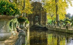 Picture autumn, Park, France, Paris, the Medici fountain