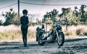 Picture girl, view, legs, motorcycle
