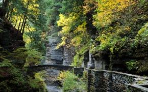Picture Bridge, Autumn, Rocks, USA, USA, Nature, Fall, Bridge, Autumn, Ithaca, Ithaca