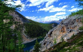 Picture the sky, clouds, mountains, lake, Alberta, Canada, Canada