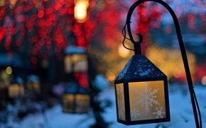 Wallpaper nature, winter, snowflakes, lights, bokeh, the evening, lights, lanterns