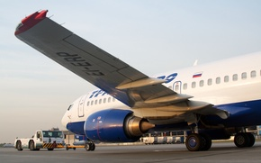 Picture wings, turbine, airport, Boeing, the plane, Boeing, passenger, Transaero, B-737, 33S