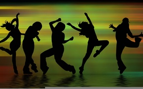 Wallpaper fun, dancing, movement, shadows, people, dance, figure, music, silhouettes