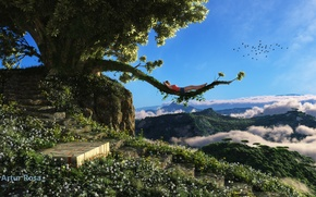 Picture girl, clouds, mountains, birds, tree, view, branch, steps, lying, render