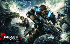 Wallpaper bridge, weapons, soldiers, armor, fighter, saw, rifle, teeth, Gears of War 4, Gears 4